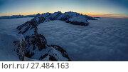 Nachtstimmung bei Mondlicht auf dem Hohen Kasten mit Blick auf Alpstein und Nebelmeer. Стоковое фото, фотограф Christof Sonderegger / age Fotostock / Фотобанк Лори