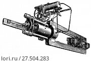 Купить «Горизонтальная разрывная машина фирмы Амслера для нагрузки до 300 тон, предназначенная для разрыва цепей, канатов», иллюстрация № 27504283 (c) Макаров Алексей / Фотобанк Лори