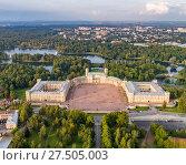 Купить «Гатчинский дворец и парк сверху», фото № 27505003, снято 12 сентября 2017 г. (c) Геннадий Соловьев / Фотобанк Лори
