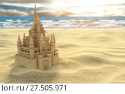Купить «Sand castle on the beach on the sea and sky background.», фото № 27505971, снято 23 апреля 2018 г. (c) Maksym Yemelyanov / Фотобанк Лори