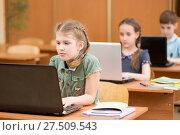Купить «Group of elementary school kids working together in computer class», фото № 27509543, снято 17 июля 2018 г. (c) Оксана Кузьмина / Фотобанк Лори