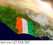 Купить «Ivory Coast with flag in rising sun», фото № 27518787, снято 22 июля 2019 г. (c) easy Fotostock / Фотобанк Лори