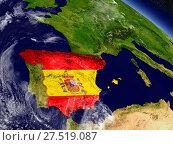 Купить «Spain with embedded flag on Earth», фото № 27519087, снято 22 июля 2019 г. (c) easy Fotostock / Фотобанк Лори