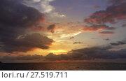 Купить «Beautiful landscape with tropical sea sunset», видеоролик № 27519711, снято 22 января 2018 г. (c) Михаил Коханчиков / Фотобанк Лори