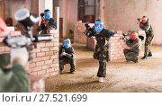 Купить «Teams on the paintball ground», фото № 27521699, снято 10 июля 2017 г. (c) Яков Филимонов / Фотобанк Лори