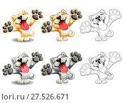 Купить «Набор милых улыбающихся собак породы Акита Ину, которые стоят на задних лапах. Оранжево-желтый и серый варианты, с контуром и без, и просто контур. Иллюстрация в мультипликационном стиле изолированно на белом, раскраска», иллюстрация № 27526671 (c) Анастасия Некрасова / Фотобанк Лори