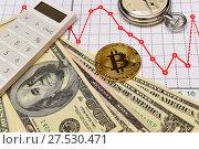 Купить «Золотая монета Bitcoin. Доллары, графики, калькулятор и секундомер», эксклюзивное фото № 27530471, снято 30 января 2018 г. (c) Юрий Морозов / Фотобанк Лори