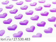 Купить «St Valentines day festive background. Purple silk hearts on the white wooden background.  Valentines day festive concept», фото № 27530483, снято 20 января 2018 г. (c) Зезелина Марина / Фотобанк Лори