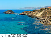 Купить «Rocky sea coast, Agrigento, Sicily, Italy», фото № 27535027, снято 14 июня 2017 г. (c) Юрий Брыкайло / Фотобанк Лори