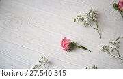 Купить «Composition of white and pink flowers rustic style, for St. Valentine's Day with a place for your text. Flat lay, top view», видеоролик № 27540315, снято 2 февраля 2018 г. (c) Happy Letters / Фотобанк Лори