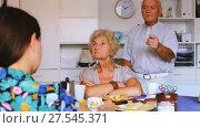 Купить «Upset elderly pair sitting at table, having tough talk with young girl», видеоролик № 27545371, снято 7 сентября 2017 г. (c) Яков Филимонов / Фотобанк Лори