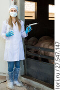 Купить «Woman veterinarian in mask holding syringe», фото № 27547147, снято 16 августа 2018 г. (c) Яков Филимонов / Фотобанк Лори