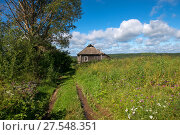 Купить «Старый заброшенный деревянный дом и зеленые холмы на заднем плане», фото № 27548351, снято 7 августа 2017 г. (c) Pukhov K / Фотобанк Лори
