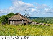 Купить «Старый заброшенный деревянный дом и зеленые холмы на заднем плане», фото № 27548359, снято 7 августа 2017 г. (c) Pukhov K / Фотобанк Лори