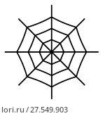Купить «Spiderweb icon isolated on white background», иллюстрация № 27549903 (c) Сергей Лаврентьев / Фотобанк Лори