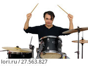 Middle aged drummer with drumsticks in his hands playing drum set. Isolated on a white background. Стоковое фото, фотограф Нелли Сабитова / Фотобанк Лори