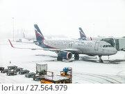 Купить «Aeroflot Airbus A320», фото № 27564979, снято 3 февраля 2018 г. (c) Art Konovalov / Фотобанк Лори