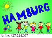 Купить «the word hamburg illustrated in a cheerful,childlike and colorful way!», фото № 27584067, снято 26 сентября 2018 г. (c) PantherMedia / Фотобанк Лори