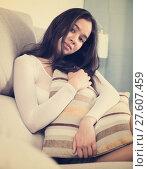Купить «Gloomy teenager girl with pillow», фото № 27607459, снято 30 мая 2017 г. (c) Яков Филимонов / Фотобанк Лори