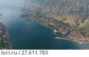 Купить «Bay of Kotor and old city in Montenegro aerial», видеоролик № 27611783, снято 28 ноября 2017 г. (c) Михаил Коханчиков / Фотобанк Лори