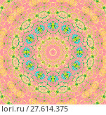 Купить «Abstract geometric seamless background. Ornate ornament in pink, violet, yellow, peach color, green and turquoise blue shades. Concentric pattern with various elements multicolored.», фото № 27614375, снято 20 июля 2018 г. (c) PantherMedia / Фотобанк Лори