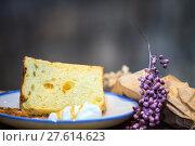 Купить «Selective focus, Chiffon cake on nice dish cutting board», фото № 27614623, снято 22 января 2019 г. (c) PantherMedia / Фотобанк Лори