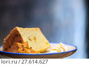 Купить «Selective focus, Chiffon cake on nice dish cutting board», фото № 27614627, снято 22 января 2019 г. (c) PantherMedia / Фотобанк Лори