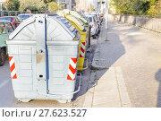 Купить «Garbage containers for separate types of trash..», фото № 27623527, снято 16 июля 2019 г. (c) PantherMedia / Фотобанк Лори
