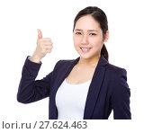 Купить «Businesswoman with thumb up», фото № 27624463, снято 20 июня 2019 г. (c) PantherMedia / Фотобанк Лори