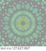 Купить «Abstract geometric seamless background. Delicate concentric circle ornament with turquoise and bright yellow elements on silver gray.», фото № 27627067, снято 20 июля 2018 г. (c) PantherMedia / Фотобанк Лори