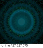 Купить «Abstract geometric seamless background. Concentric circle ornament blue gray with green elements on black.», фото № 27627075, снято 20 июля 2018 г. (c) PantherMedia / Фотобанк Лори
