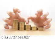 Купить «Greed for money. Hands grabbing coins. », фото № 27628027, снято 23 марта 2018 г. (c) PantherMedia / Фотобанк Лори