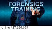 Купить «Investigator Touching FORENSICS TRAINING», фото № 27636659, снято 18 декабря 2018 г. (c) PantherMedia / Фотобанк Лори