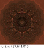 Купить «Abstract geometric antique background. Floral circle ornament in brown shades with orange outlines. Seamless concentric pattern in quiet colors.», фото № 27641015, снято 21 октября 2018 г. (c) PantherMedia / Фотобанк Лори