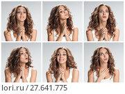 Купить «The set of female portraites with softened facial expression», фото № 27641775, снято 21 апреля 2019 г. (c) PantherMedia / Фотобанк Лори
