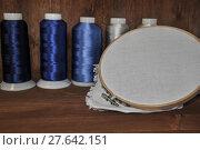 Купить «Set for embroidery of colorful threads, hoops, thimble and need», фото № 27642151, снято 23 февраля 2018 г. (c) PantherMedia / Фотобанк Лори