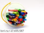 Купить «Selection of felt tipped pens lying in a bucket», фото № 27655587, снято 22 июля 2019 г. (c) PantherMedia / Фотобанк Лори