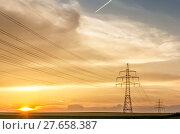 Купить «sunset with transmission line», фото № 27658387, снято 22 сентября 2019 г. (c) PantherMedia / Фотобанк Лори