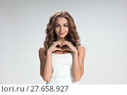 Купить «The young woman's portrait with happy emotions», фото № 27658927, снято 27 июня 2019 г. (c) PantherMedia / Фотобанк Лори