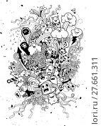 Купить «Hand Drawn of Monster party background», иллюстрация № 27661311 (c) PantherMedia / Фотобанк Лори