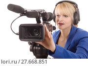 Купить «beautiful young woman with a professional video camera and headphone», фото № 27668851, снято 18 марта 2018 г. (c) PantherMedia / Фотобанк Лори