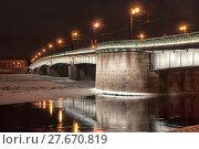 Купить «Литейный мост зимней ночью. Санкт-Петербург», фото № 27670819, снято 3 февраля 2018 г. (c) Румянцева Наталия / Фотобанк Лори