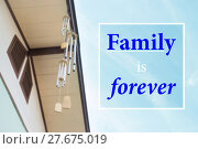 Купить «Family is forever beautiful quote on blur blue sky», фото № 27675019, снято 20 октября 2018 г. (c) PantherMedia / Фотобанк Лори