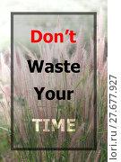 Купить «Inspiraional quote of don't waste your time», фото № 27677927, снято 19 декабря 2018 г. (c) PantherMedia / Фотобанк Лори