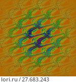 Купить «Abstract geometric seamless background. Diagonal wavy pattern in yellow, orange, blue, purple and bright green shades, centered and blurred, modern and vividly.», фото № 27683243, снято 24 октября 2019 г. (c) PantherMedia / Фотобанк Лори