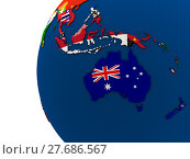 Купить «Political Australasia map», фото № 27686567, снято 18 января 2019 г. (c) PantherMedia / Фотобанк Лори