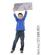 Купить «boy holding chalk board», фото № 27688851, снято 20 июня 2019 г. (c) PantherMedia / Фотобанк Лори