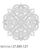 Купить «Mandala illustration for adult coloring», иллюстрация № 27689127 (c) PantherMedia / Фотобанк Лори