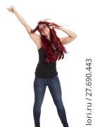 Купить «redhead beautiful girl with headphone and mobile cheers and dances», фото № 27690443, снято 18 марта 2018 г. (c) PantherMedia / Фотобанк Лори