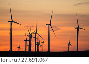 Купить «Wind Turbines High Hill Green Energy Generate Power Sunset», фото № 27691067, снято 16 февраля 2019 г. (c) PantherMedia / Фотобанк Лори